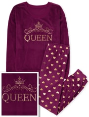 Womens Mommy And Me Queen Velour Matching Pajamas