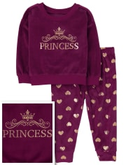 Baby And Toddler Girls Mommy And Me Princess Velour Matching Pajamas