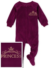 Baby And Toddler Girls Mommy And Me Princess Velour Matching One Piece Pajamas