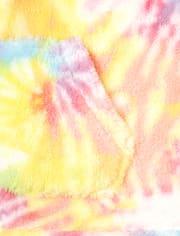 Girls Rainbow Tie Dye Sherpa Zip Up Hoodie