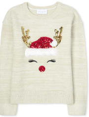 Girls Embellished Christmas Sweater