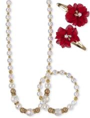 Conjunto de 4 piezas y joyería de flores para niñas