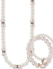 Conjunto de collar y pulsera con cuentas de perlas sintéticas para niñas