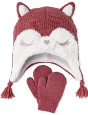 Toddler Girls Fox Hat And Mittens Set