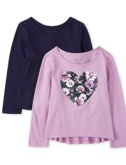 Pack de 2 camisetas con forma de corazón para niñas pequeñas