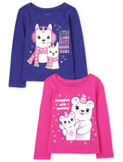 Toddler Girls Mom Graphic Tee 2-Pack
