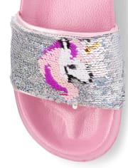 Girls Flip Sequin Unicorn Slides