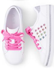 Girls Glitter Rainbow Stars Low Top Sneakers