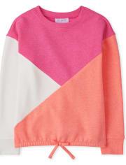 Girls Colorblock Fleece Tie Front Top