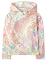 Girls Print Fleece Hoodie Top