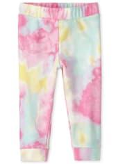 Pantalones jogger de felpa con efecto tie dye para bebés y niñas pequeñas