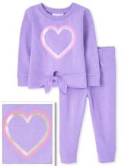 Conjunto de 2 piezas de corazón para niñas pequeñas