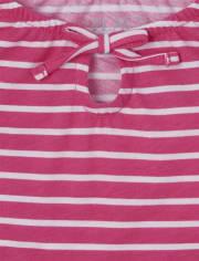 Girls Striped Smocked Peasant Top