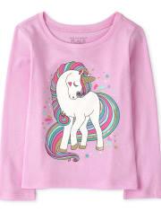 Camiseta con estampado de unicornio para bebés y niñas pequeñas