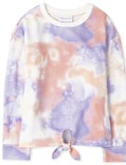 Girls Tie Dye Fleece Tie Front Top