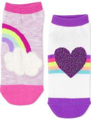 Pack de 6 pares de calcetines tobilleros Rainbow Heart para niñas