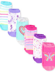 Girls Rainbow Butterfly Ankle Socks 6-Pack