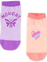 Pack de 7 calcetines tobilleros de los días de la semana para niñas
