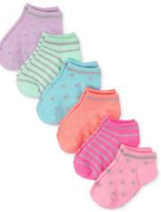 Toddler Girls Metallic Ankle Socks 6-Pack