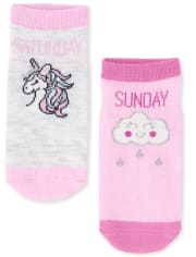 Toddler Girls Days Of The Week Ankle Socks 7-Pack