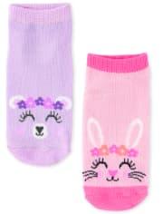 Toddler Girls Critter Ankle Socks 6-Pack