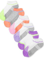 Girls Colorblock Cushioned Mesh Ankle Socks 6-Pack