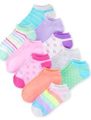 Girls Rainbow Ankle Socks 10-Pack