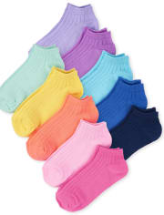 Girls Rainbow Ankle Socks 10-Pack