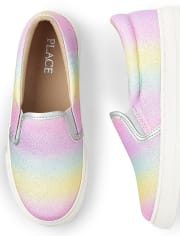 Girls Glitter Rainbow Ombre Slip On Sneakers