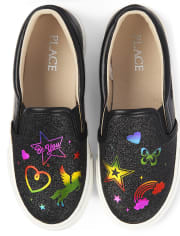 Girls Glitter Rainbow Doodle Slip On Sneakers
