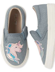 Toddler Girls Glitter Unicorn Denim Slip On Sneakers