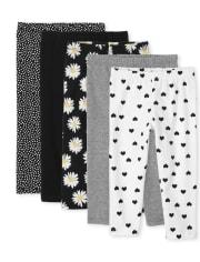 Girls Print Capri Leggings 5-Pack