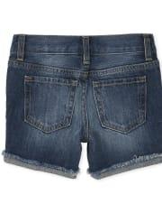 Girls Distressed Denim Midi Shorts
