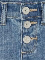 Girls Button Front Distressed Denim Girlfriend Shorts
