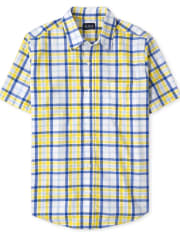 Mens Dad And Me Plaid Poplin Button Down Shirt