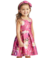 Toddler Girls Floral Pleated Dress