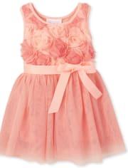 Toddler Girls 3D Flower Knit To Woven Dress