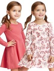 Paquete de 2 vestidos skater para bebés y niñas pequeñas