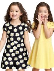 2-Pack Baby And Toddler Girls Print Skater Dress