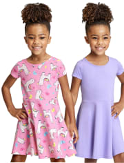 2-Pack Baby And Toddler Girls Print Skater Dress