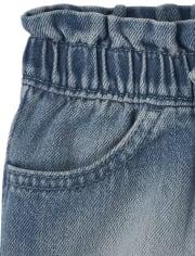 Baby And Toddler Girls Paper Bag Waist Denim Shorts