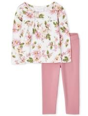 Conjunto de 2 piezas con gradas florales para niñas pequeñas