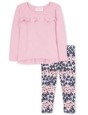 Conjunto de 2 piezas de suéter ligero con volantes para niñas pequeñas