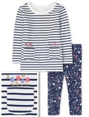 Toddler Girls Striped Tunic 2-Piece Set