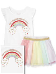 Toddler Girls Birthday Rainbow 2-Piece Set