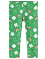 Baby And Toddler Girls St. Patrick's Day Rainbow Leggings
