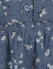 Vestido camisero de cambray floral para bebés y niñas pequeñas