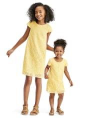 Toddler Girls Daisy Lace Shift Dress