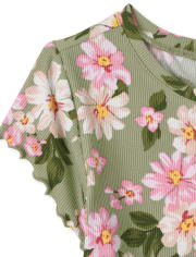 Girls Floral Ribbed Top