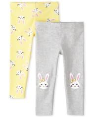 Toddler Girls Bunny Leggings 2-Pack